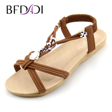 Women Sandals 2016 Ankle-Strap Shoes Women Flat Sandals Narrow Band Summer Shoes Beaded Girl Flip Flops Big size 37-42 B01(China (Mainland))