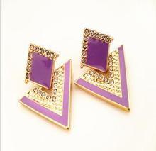 Fashion accessories chromophous sparkling multicolor stud earring E057