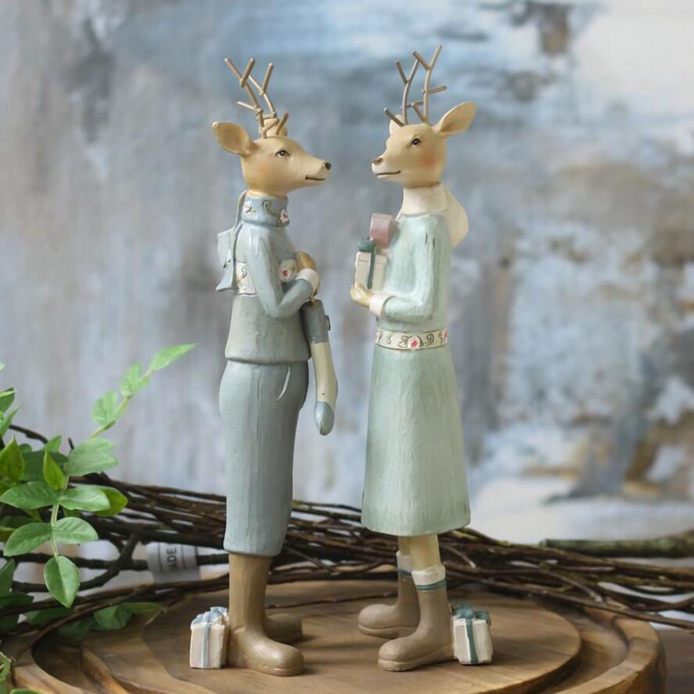 Handicrafts Resin Decoration Of Couple Deer For Home Decor Best Gift For Home Decor Christmas Decor