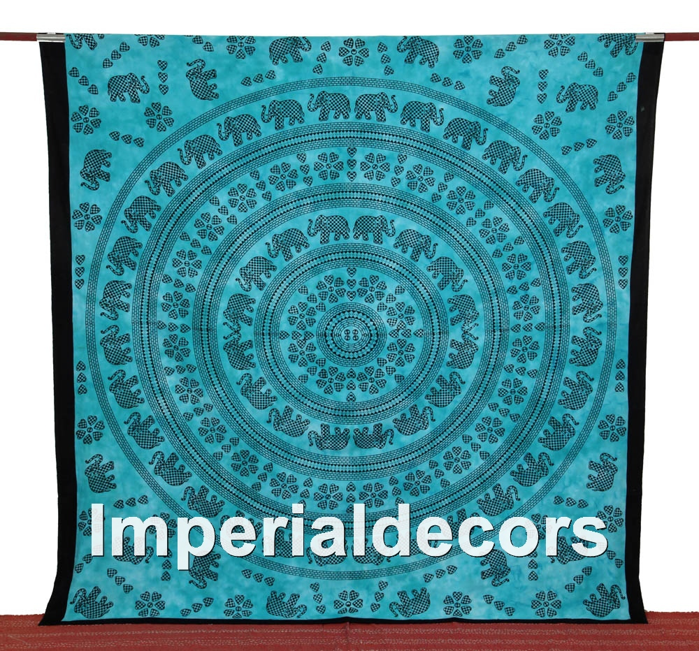 Indian Tapestry, Mandala Wall Hanging, Bohemian Bedsheet (QUEEN Size,100% Premium Quality) Ethnic Vintage Blanket.