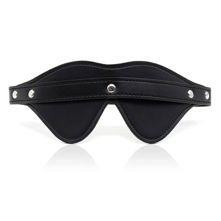 Cool male female sex blindfold black PU leather eye mask couples role-play fetish toy product for man fetish flirting(China (Mainland))