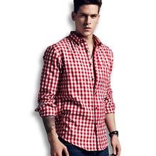 2015 Men Shirt Long Sleeve Casual Plaid Shirts Slim Fit Fashion Male Camisa Masculina Colorful Shirt