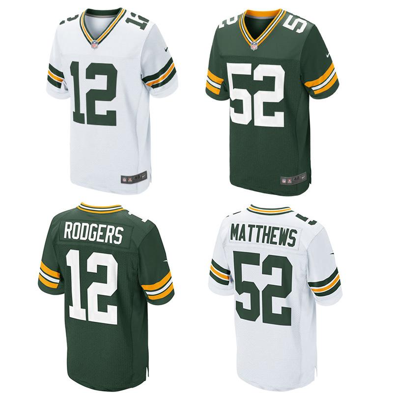 MENS camisa ARGILA MATTHEWS #52 AARON RODGERS GREEN BAY PACKERS #12 Verde Branco Elite 100% Costurado Logos(China (Mainland))