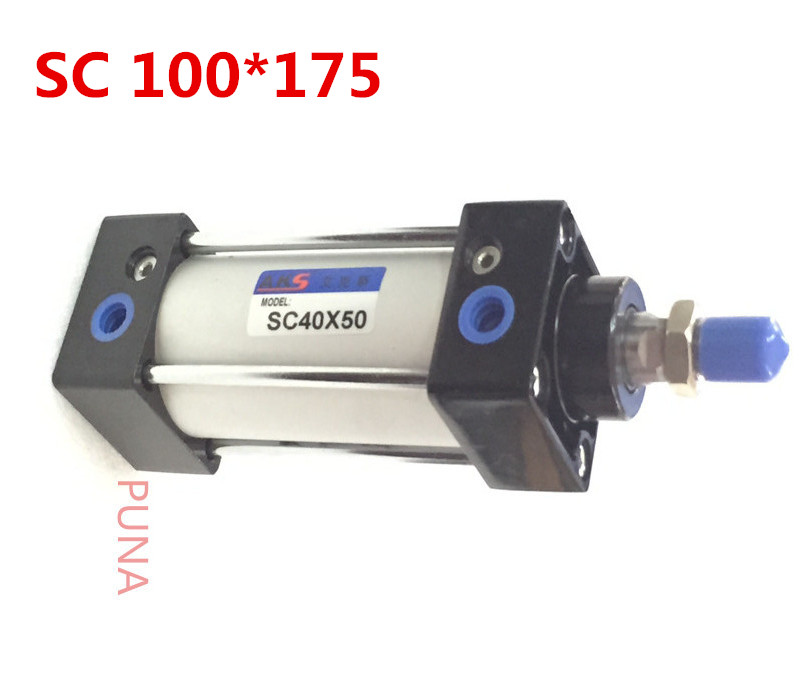 "100mm Bore 175mm Stroke 1/2"" BSP Pull Rod 100x175 Standard Pneumatic Air Cylinder SC 100*175 100-175 Airtac Type"