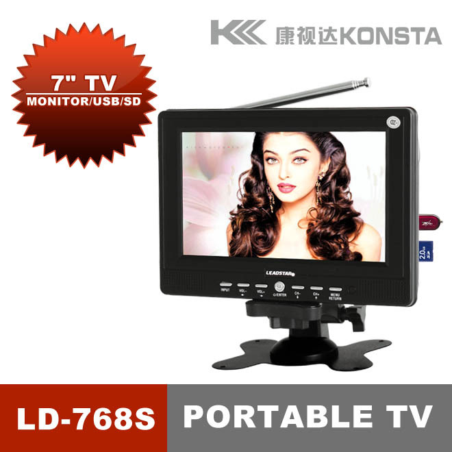 """Best gift7"""" Mini LCD TV with carder reader TV AV with wide view angle LED TV LD-768S(China (Mainland))"""