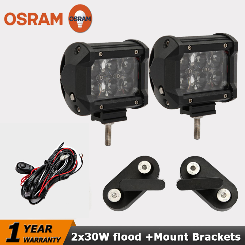 OSRAM 30W Flood Beam LED Work Light Bar+Mount Brackets 4x4 Offroad Light Bar 12V/24V ATV SUV 4WD LED Driving Fog Light For Jeep<br><br>Aliexpress