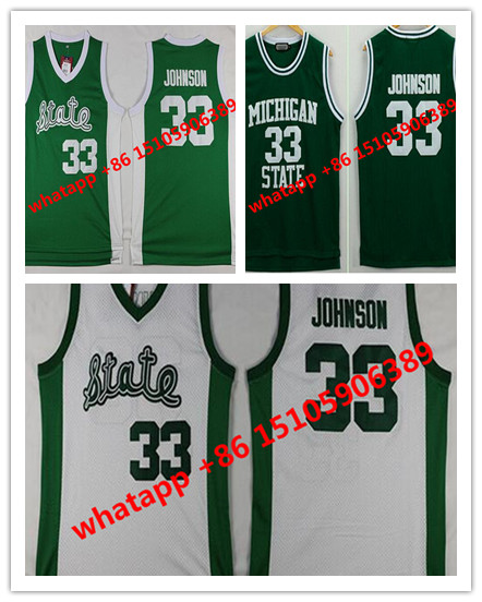 Men's Michigan State Spartans Magic Johnson Jerseys 33 University College Basketball Shirt Green Color White Cheap Best S-XXXL(China (Mainland))