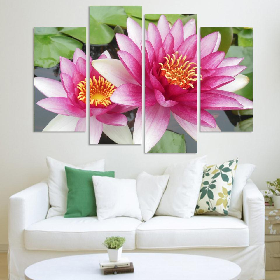 4 Panel Wall Art Pictures Botanical Red pink lotus Oil Painting On Canvas unframed The Picture For Living Room Decoration(China (Mainland))
