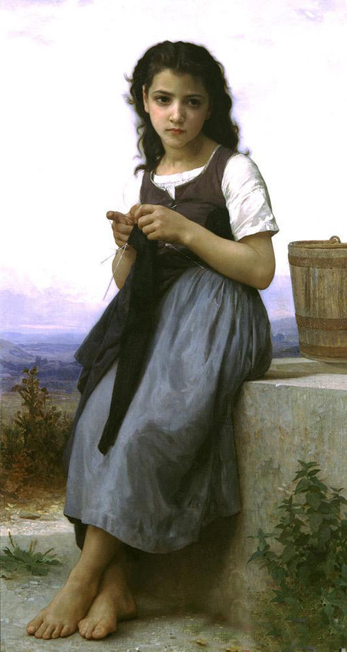 Fine Oil painting Bouguereau - The Little Knitter girl in landscape canvas 607(China (Mainland))
