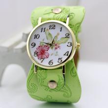 2015 New Arrival impresso pulseira de couro relógio de pulso grande banda Dress Watch com flores moda Women Watch Casual presente da menina