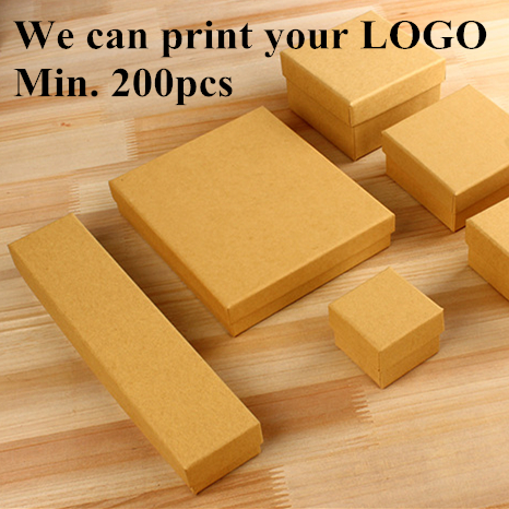 (200pcs/lot) Factory Wholesale- Print LOGO Natural Simple Brown Craft Paper Gift Box   Neutral Ring Jewelry Boxes W Black Sponge