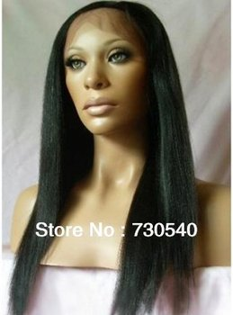 Glueless4*4silk top full lace wig/front lace wig  LIGHT YAKI straight Brazilian remy human for black women(075)