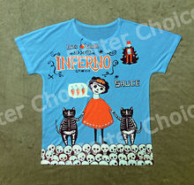 Track Ship+Vintage Retro T-shirt Top Tee Inferno Artist Frida Red Frida Playing Childhood Friends Skeleton Cat 0006(Hong Kong)