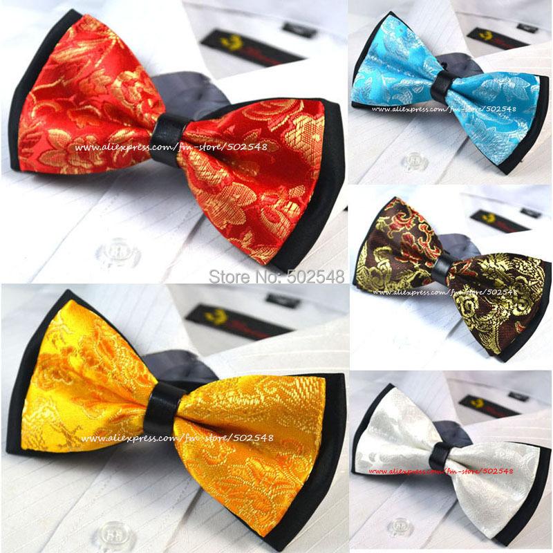 Retail Mens Bowtie Bow Tie Pre-tied Adjustable Red Paisley Black Silk Ties Men Fashion Accessories - Daisy li's store