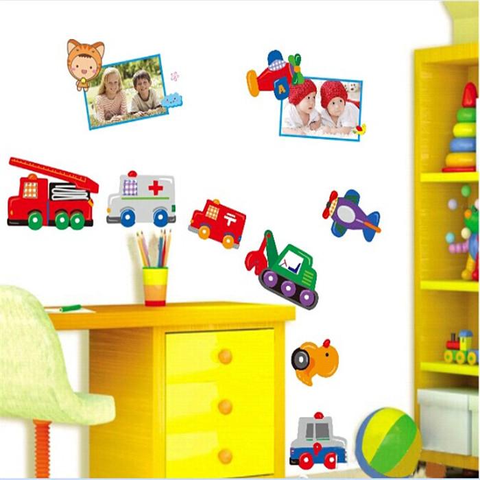 Children Bedroom Cartoon Car Vinyl Wall Stickers For Kids Rooms Boys
