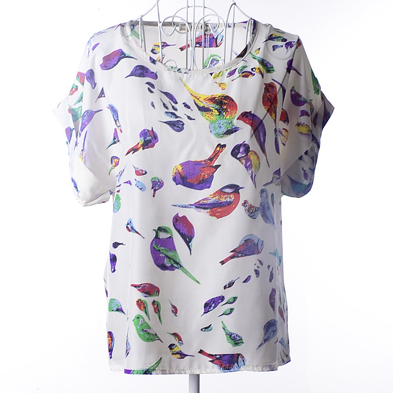 women blouses printed 19 patterns loose style chiffon short sleeve shirt summer women clothing fashion tops tee Blusa Camisa(China (Mainland))