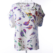 women blouses printed 19 patterns loose style chiffon short sleeve shirt summer women clothing fashion tops