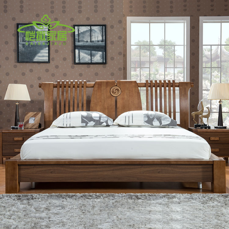 Residential modern Chinese wood bedroom furniture bed 1.5 m Double bed tatami bed flat bed Specials(China (Mainland))