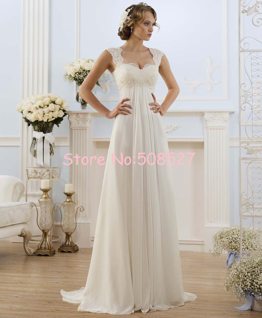 2016 Robe De Mariage Stock US Size 2-22 White/Ivory Appliques Chiffon Lace A-Line Wedding Dress Bridal Gowns Vestido De Noiva(China (Mainland))
