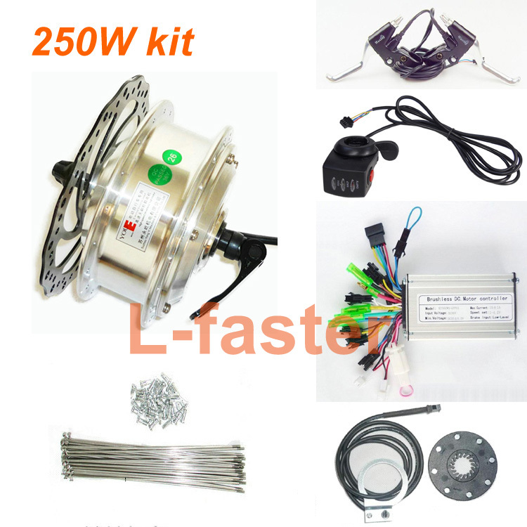 36V 48V 250W Electric Bicycle Hub Motor Set Electric Bike Conversion Kit Homemade Ebike Motor Wheel Quick Release Use Disc Brake(China (Mainland))