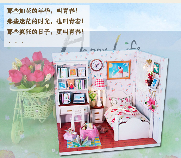J009 youth story Diy Wood Miniature bed room Doll Home Furnishings Toy Miniatura Mannequin Handmade Dollhouse Birthday Present
