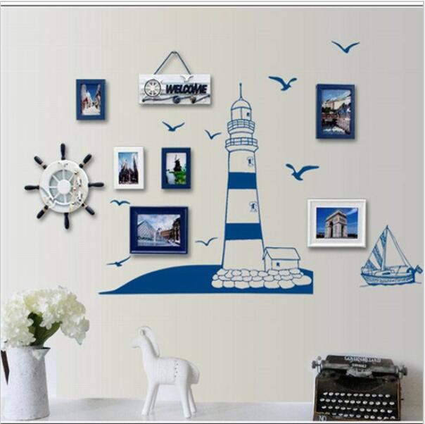 Blue Ocean Lighthouse Seagull Photo Frame DIY Wall Stickers Home Nautical Dec