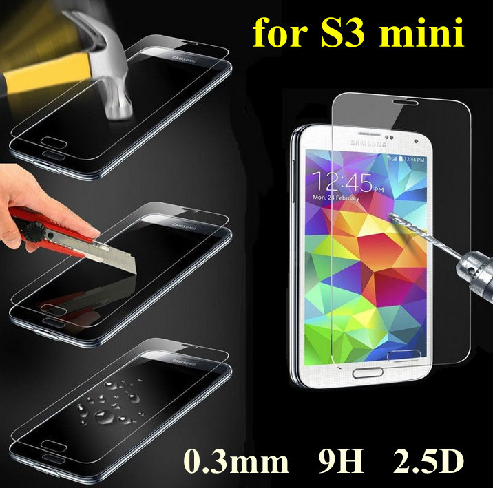 50pcs Premium thin 9H Tempered Glass Screen Protector for Samsung Galaxy S3 i8190 front cover guard anti-shock protective film