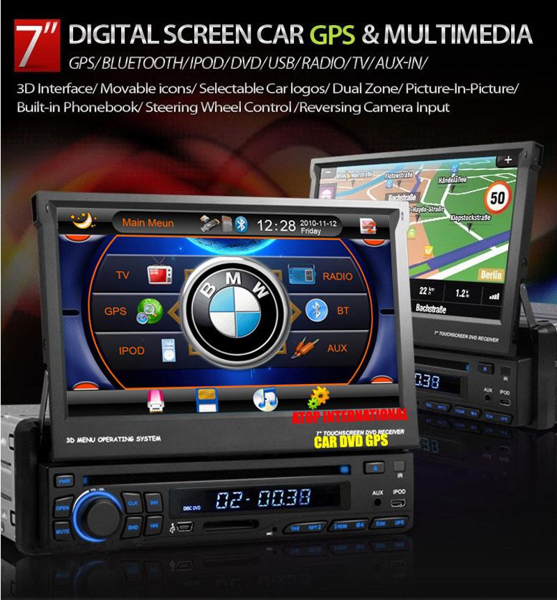 "Car DVD Player Auto Radio Stereo Sat Navi One 1 Din 7"" Multi-media High Definition with GPS Navi BlueTooth Radio AUX IPOD Map(China (Mainland))"