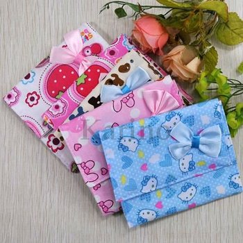 Free Shipping Wholesale Printed Flower Cotton Bag, Pads Cover, Case, Bow Sanitary Napkin Pouch