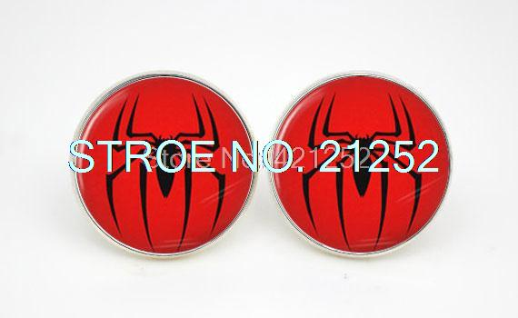 10pairs/lot Spiderman Logo Comic Earring stud spider charm red style Glass cabochon earrings(China (Mainland))