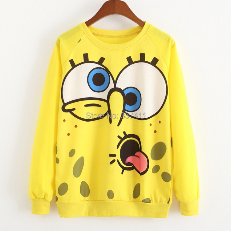 2015 Autumn/winter Fashion women cartoon Long sleeve thin style Hoodies Sweatshirts Spongebob Print casual sport suit women tops(China (Mainland))
