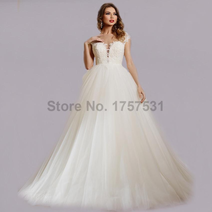 2016 Famous Design Lace Ball Gown Bridal Wedding Dresses