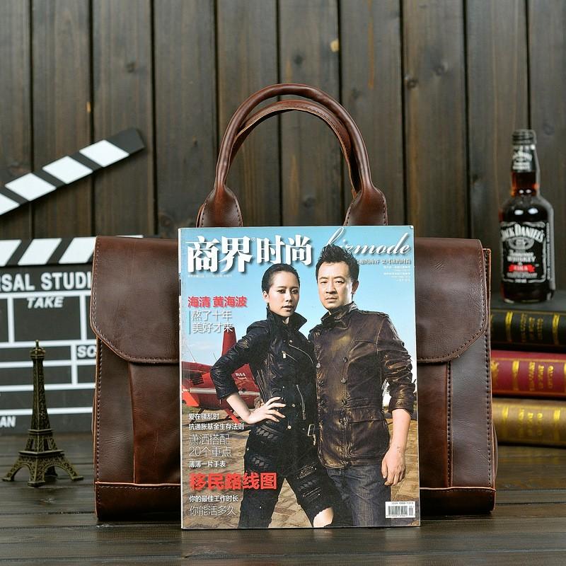 Vintage Men Business Faux PU Leather Briefcase Male Travel Causal Messenger Shoulder Portfolio Laptop Bags Lawer Handbag Bolsa (16)