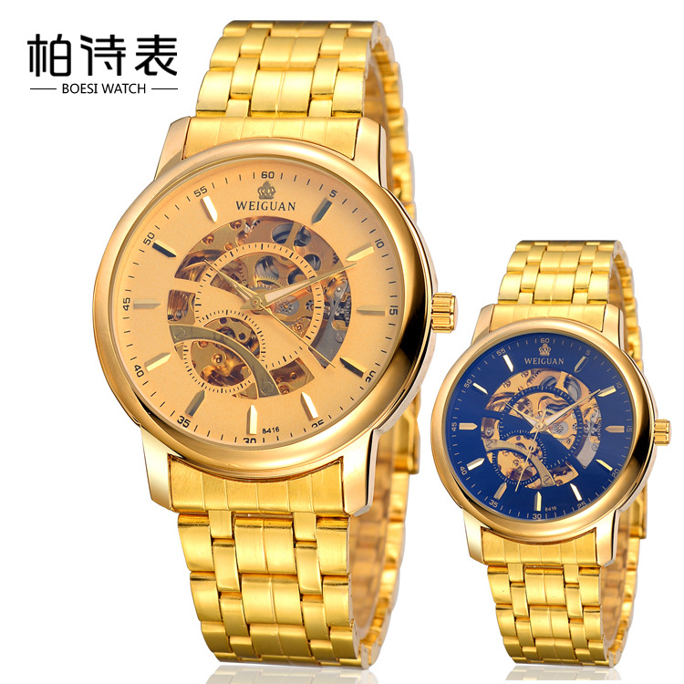 simple fashion quality electroplating high-grade mens steel strip gold automatic mechanical waterproof gold table<br><br>Aliexpress