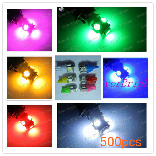 500pcs Car T10 194 168 W5W 5LED 5050 5SMD Car Side Wedge Light Lamp Bulb 5 Colors for your option(China (Mainland))