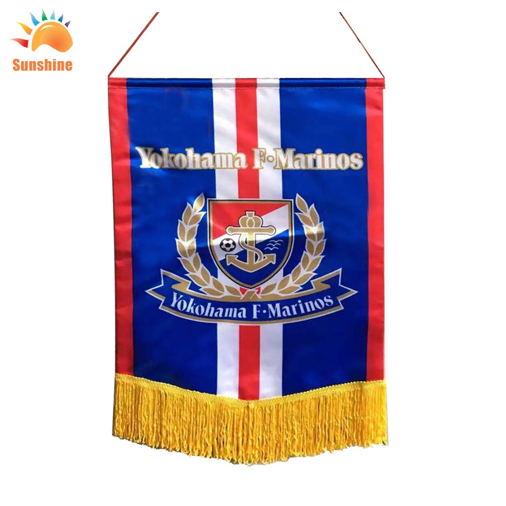 Liaoning China High Quality 22cm* 27cm custom football club pennants and soccer pennants for retail(China (Mainland))