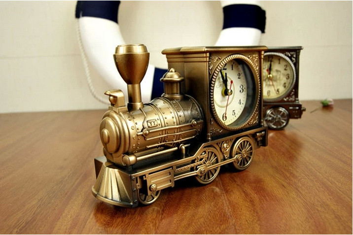 Home Desk Decoration Train Shape Antique Locomotive Quartz Vintage Alarm Clock 5Pcs/Lot(China (Mainland))