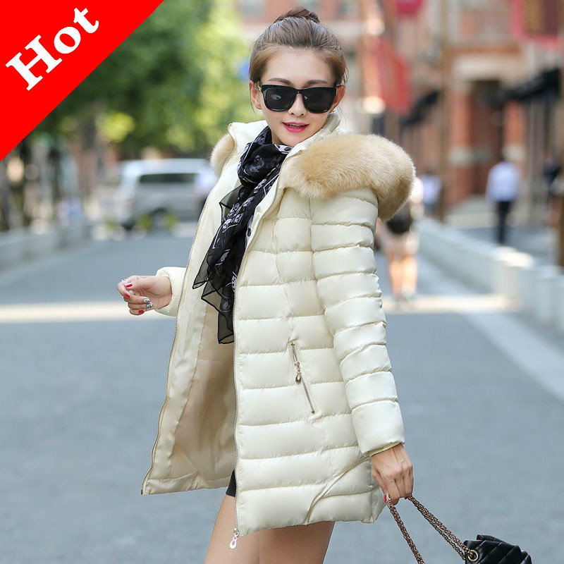 Women Jacket 2015 Brand Winter Wadded Long Style Fur Collar Coats Female Slim Snow Parkas Warm Outerwear Plus Size