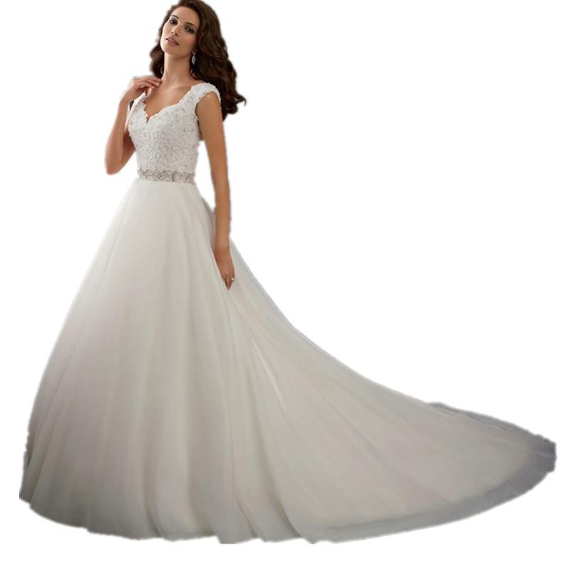 White A Line Vestidos De Noiva Beading Button Bow Lace Robe De Mariage V Neck Bridal Gown Wedding Dresses 2015 Casamento YN 3299(China (Mainland))