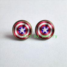 ES-00465-Captain America Shield ear stud glass pierced earrings Perfect fan gift idea wedding party women him, photo jewelry(China (Mainland))