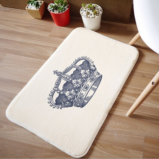 Newest carpet creator crown Korean style coral velvet suede multifunction welcome front door floor mats home textile products(China (Mainland))