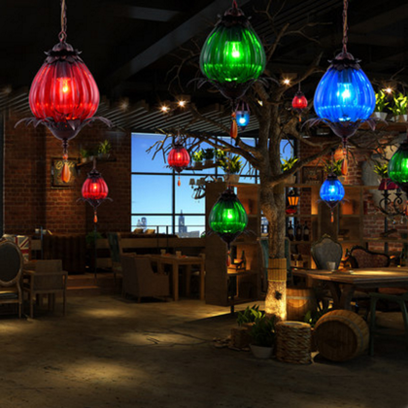 creativo Moderno LED colorati in vetro lampade a sospensione lampade ...