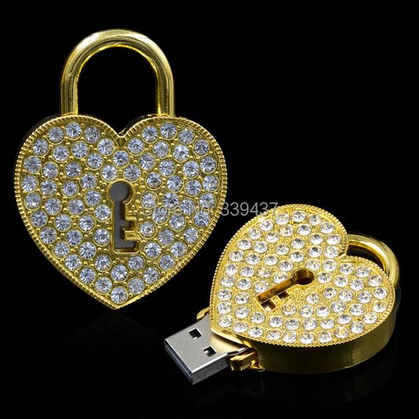 real capacity usb flash drive crystal Love lock pen drive Thumb 4GB/8GB/16GB/32GB memory drive valentine's day gifts(China (Mainland))