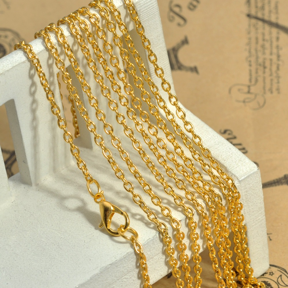 2015 Wholesale 25.5 Inch Flat Cable Chain 18K Gold Plated Cross Chain Necklace with Lobster Clasp Connected Cheap Accessories(China (Mainland))