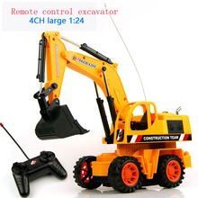 Baby toys 4Ch 1:24 large Remote control engineering truck excavator car boy toys rc car electric bulldozer kids toy gifts(China (Mainland))