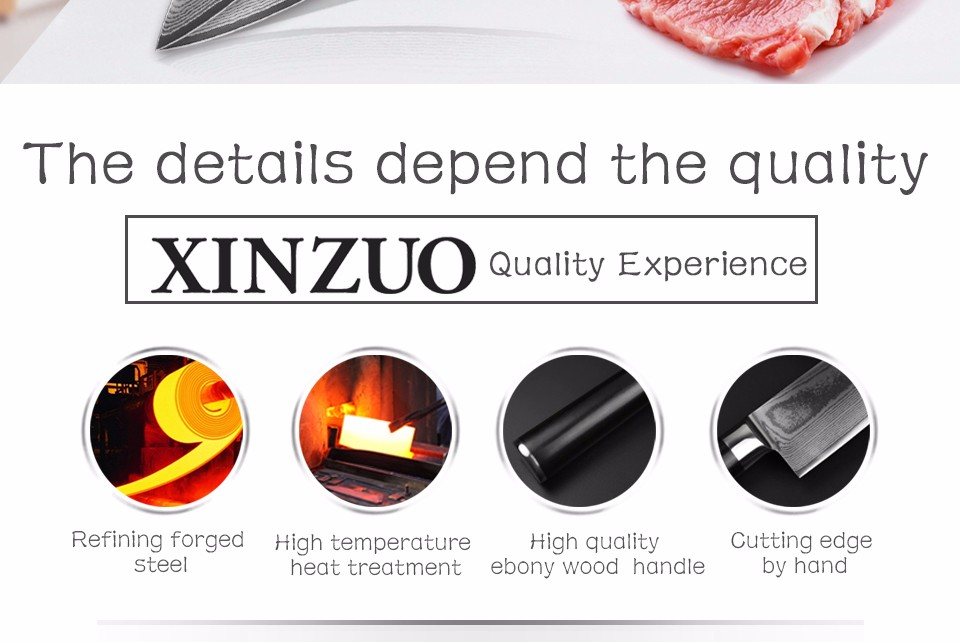 "Buy XINZUO 8 "" inch chef knife  67 layers Japanese VG10 Damascus kitchen knife melon/vegetable knife ebony wood handle free shipping cheap"