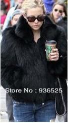 2013 Women Faux Fur fox Hair Lady Warm Coat Jacket Fluffy Short wool Outwear Belted overcoat/