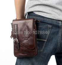 2014 Time-limited 100% Cowhide Men's Waist Bag Casual Outdoor Sports Pack Genuine Leather Travel Man Small Money Belt Messenger