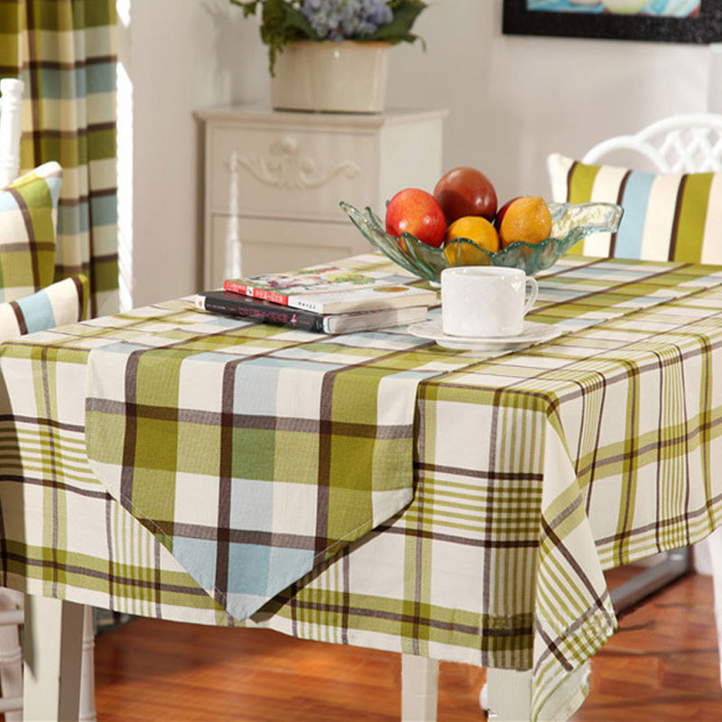 Pastoral style 2 colors plaid table cloth cotton cloth for rectangular table home wedding decoration hot sale(China (Mainland))