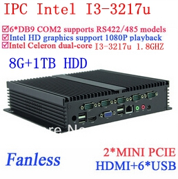 Best Industrial computers i3 with Gigabit Ethernet 6 USB 6 COM 8G RAM 1TB HDD WIN7 WIN8 LINUX NAS free drive 7 24 hours(China (Mainland))